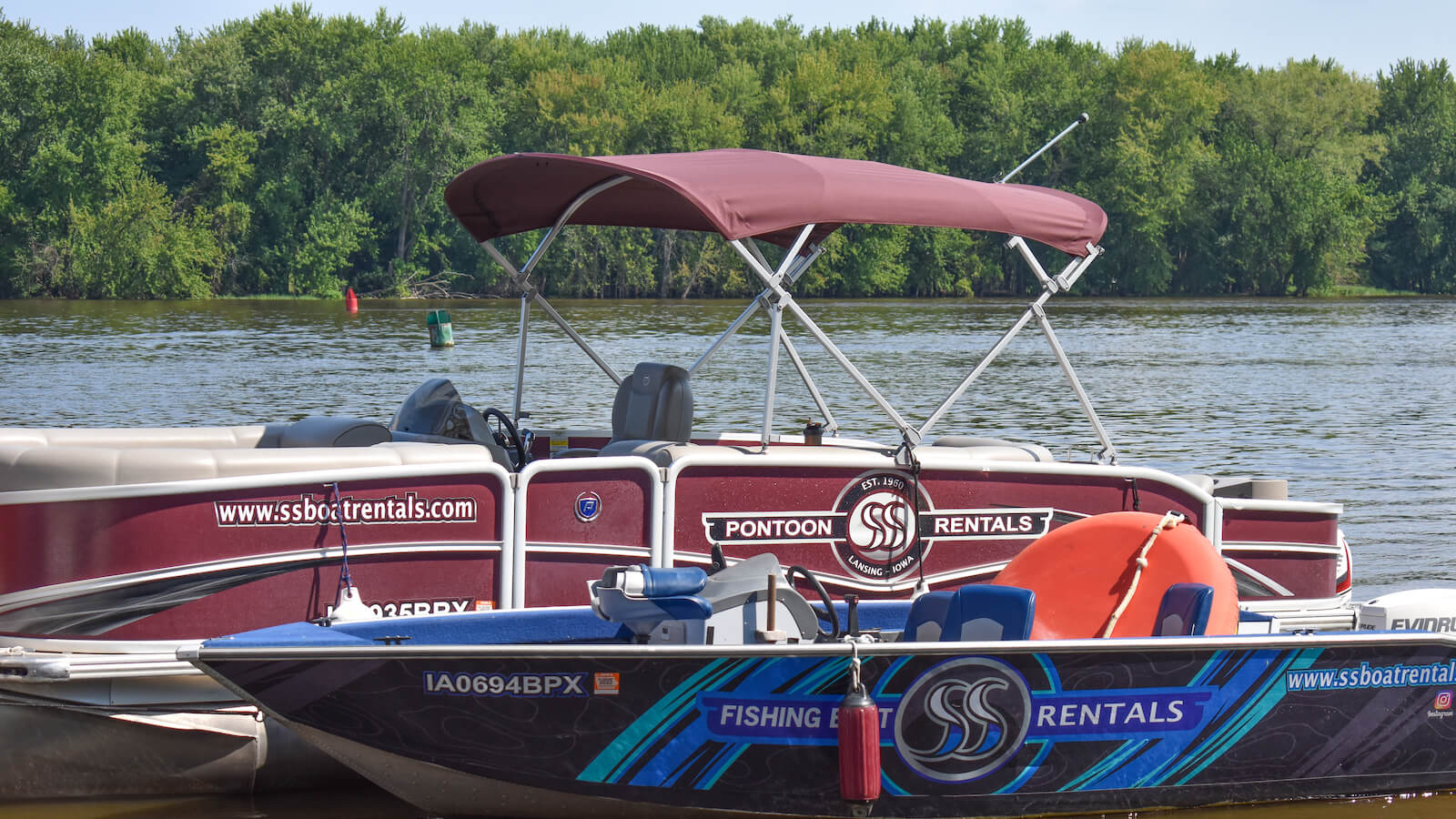 S&S Rentals pontoon boat and fishing boat
